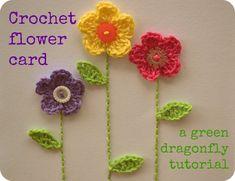 Crochet flower card free pattern