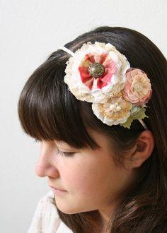 Bridal Wedding Headband, Pink Floral Hairband, Flower Girl Hair Accessory, Mori Girl Hair Flowers