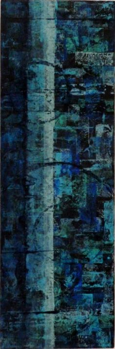 laurajwryan:  Blue Stripe, 3/29/2012, acrylic wash monotype, rice paper on canvas, 16 x 8 inches Still painting with the blues…not sure if I've tapped out of this phase or not…I can't help it, blue is just my favorite color.