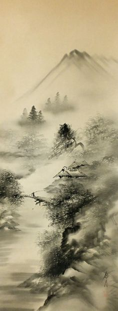 japanese ink painting landscape - Google Search