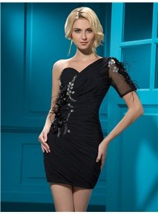 Stunning  Short/Mini Zipper-Up One-Shoulder Crystal Feather Sheath Cocktail  Dress #sexy #oneshoulder #dress