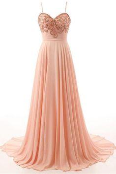 Custom Made Light Spaghetti Strap Prom Dresses, Pink Spaghetti Strap Prom Dresses, Long Prom Dresses, Pretty Pink Long Beading High Low Chiffon Prom Dress With Straps WF01G42-963