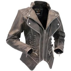 Jamin' Leather Women's Brown Vintage Steampunk Leather Jacket CCW... ($260) ❤ liked on Polyvore featuring outerwear, coats, brown coat, genuine leather coat, steampunk coat, vintage leather coats and leather coat