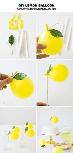 DIY Lemon Balloon Decorations - lemon balloon straws/cake topper