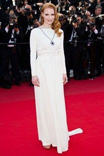 Jessica Chastain with  Bulgari diamond owned by Elizabeth Taylor Cannes Film Festival 2013