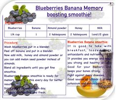 Blueberry Banana Smoothie, Anti Wrinkle, Aloe Vera, Smoothies, Vitamins, Beverages, Remedies, Nutrition, Skin Care