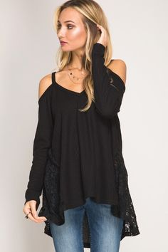 Blouse - Cold Shoulder Waffle Top with Lace