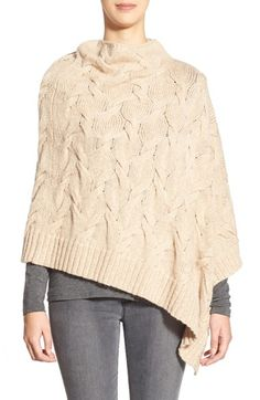 Eileen Fisher Eileen Fisher Funnel Neck Cable Knit Poncho available at Poncho Shawl, Knitted Poncho, Cable Sweater, Cable Knit, Funnel Neck, Eileen Fisher, Lana, Knit Crochet, Knitwear