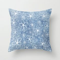 Doodle Flowers Blue Throw Pillow by Alice Gosling - $20.00  Available in 3 sizes, indoor or outdoor options, with or without the insert.  #pillow #cushion#iphone #phonecase #Samsung #nature #flowers #doodle #texture #pattern #blue