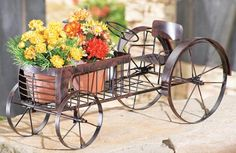 Country Tractor Metal Outdoor Planter