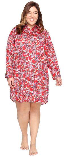 LAUREN Ralph Lauren Plus Size Sateen Sleepshirt (Red Paisley) Women's Pajama - LAUREN Ralph Lauren, Plus Size Sateen Sleepshirt, 8131350X-RPSLY, Apparel Top Sleepwear, Sleepwear, Top, Apparel, Clothes Clothing, Gift, - Street Fashion And Style Ideas