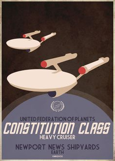 Star Trek, Retro Poster, Constitution class, NCC 1701, based on NYC Muniipal Airports poster from 1930's