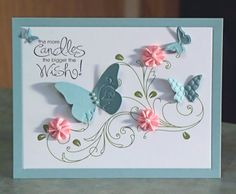 scrapbooking birthday cards: stampin up greeting cards. stampin up . Pretty Cards, Cute Cards, Diy Cards, Handmade Birthday Cards, Happy Birthday Cards, Birthday Card With Name, Birthday Wishes, Handmade Greetings, Greeting Cards Handmade