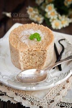 Oat bran Vanilla Cake (Romanian Dessert): oat bran, milk, xylitol (or sugar, agave, etc) salt. Romanian Desserts, Romanian Food, Just Desserts, Delicious Desserts, Dessert Recipes, Dukan Diet Recipes, Low Carb Recipes, Healthy Recipes, Vegetarian