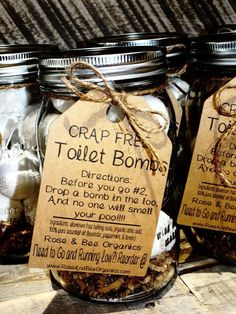 Get rid of those toxic bathroom sprays with the use of these Crap Free Toilet Bombs. Think bath bomb for your toilet!! Scented with 100% pure essential oil, they eliminate toilet odor without having t