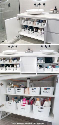 13 Creative Bathroom Organization and DIY Solutions - DIY Bathroom Storage Ideas, Bathroom Storage Solutions, Small Bathroom Organization, Bathroom Organisation, Storage Organization, Organized Bathroom, Storage Ideas, Budget Storage, How To Organize A Bathroom, Diy Storage