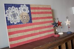 Burlap and Doily Flag.  What an easy quick project!  A great Americana look!  Love it!
