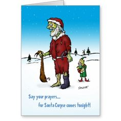 Santa Corpse Zombie Holiday Card