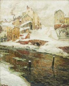 Frits Thaulow - Faubourg de Christiania, neige,... on MutualArt.com