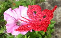 Crochet Butterfly on Flower