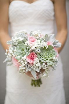 Rose and Succulent Bridal Bouquet | Jenn Hopkins Photography | TheKnot.com