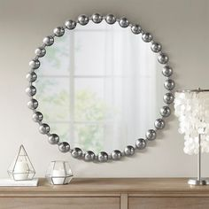 """Round Silver Baubles Iron Wall Mirror 27"""" Silver Baubles, Silver Furniture, Mirror Shop, Metal Mirror, Iron Decor, Round Mirrors, Wall Mirrors, Iron Wall, Home Decor Outlet"""