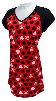 Paul Frank Julius Lots of Love Night Shirt Who isn't in love with Julius the monkey? These red night shirts for women feature Paul Frank's Julius in an all over pattern surrounded by black and white hearts. Black contrasting sleeves are a nice addition to this classic cut v-neck night shirt. Machine washable and easy care. Junior cut.