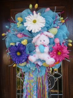 Alicia likes,........Deco Mesh TURQUOISE EASTER WREATH by decoglitz on Etsy, $145.00