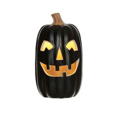 Halloween  Lit Pumpkin ($13) ❤ liked on Polyvore featuring home, home decor, holiday decorations, halloween, black, halloween home decor, pumpkin home decor, lighted home decor and black home decor