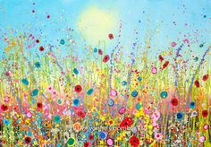 Yvonne Coomber at Imagianation Gallery, St Ives, Cornwall Moon And Sun Painting, Summer Painting, Unique Paintings, Beautiful Paintings, Cherry Blossom Art, Watercolor Art Lessons, Painting Words, Kunst Poster, Abstract Flowers