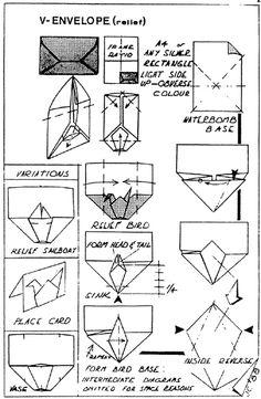 Envelope and Letter Folding:V-Envelope Origami Envelope, Origami Boxes, Letter Folding, Envelope Lettering, Paper Crafts, Diy Crafts, Free Design, Vintage Designs, Notes