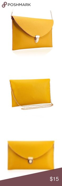 🆕 Listing- Mustard Envelope Clutch Crossbody NWT Retail. This bag can be a clutch or Crossbody via a detachable gold chain strap. The bag is big enough to hold an iPad mini- measurements are approximately 6x9 inches. Price is set, questions are welcome 😊 Bags Crossbody Bags