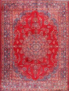"""Hand Knotted Floral Red 10x13 Mashad Persian Oriental Area Rug 12' 8"""" x 9' 7"""" 