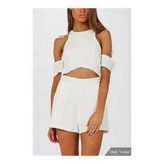 Cold Shoulder Cutout Playsuit in White ($14) ❤ liked on Polyvore featuring jumpsuits, rompers, yoins, party rompers, white romper, cut out romper, cold shoulder romper and cutout romper