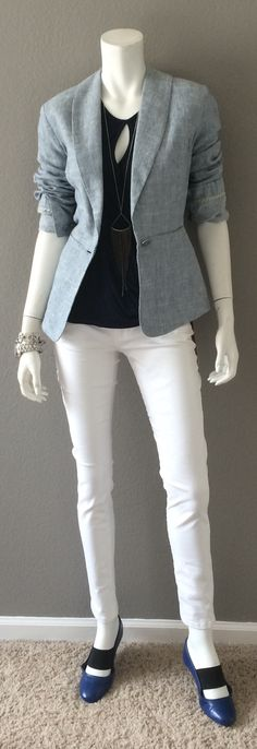 Daily Look: CAbi Spring '15 White Skinny Jean, Crossover Tee, French Navy & Beachwalk Blazer with cool flats and silver. #springfashion #cabiclothing