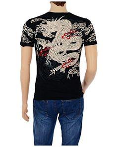 POJ Japanese Style Rising Dragon T-shirt Front and Back Print [ L / XL / XXL / XXXL ] (XXL Black)