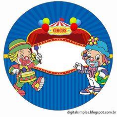 -kit personalizado infantil- Convites Digitais Simples Circus Clown, Circus Theme, Circus Party, Decoration Cirque, Clown Party, Lazy Town, Bottle Cap Images, Cake Images, Disney Characters
