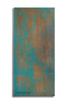 Acid Washed Steel Barn Door in Teal by ArtcraftDoors on Etsy