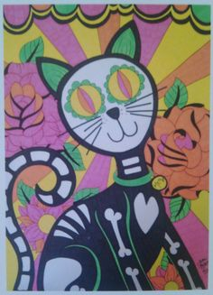 Sugar Skull Cat, Day of the Dead Cat with Roses 8x10 Print, Dia De Los Muertos, Original Alternative Gift Wall Decor, Mexican Inspired Art