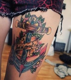 We must agree with use cute and crazy to describe on one tattoo like these top thigh tattoo ideas for women and girls, thigh tattoo as one of the best placement Cute Thigh Tattoos, Cute Girl Tattoos, Back Tattoos, Anchor Tattoos, Tribal Tattoos, First Tattoo, I Tattoo, Tiny Tattoos For Women, Shoulder Tattoos