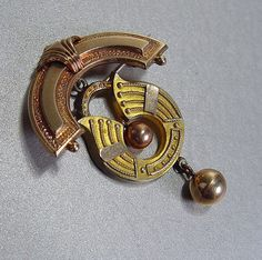 Antique Egyptian Revival Brooch Lotus Pin by MrSoDear2MyHeart, $39.00