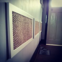 Cat scratching wall pieces. I imagine these are just picture frames with carpet in them....easy DIY....