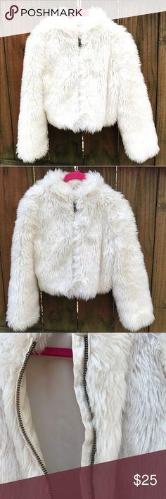 """Fur Coat Cute zip down """"fur"""" coat. Size5/6. Crazy 8 Jackets & Coats"""