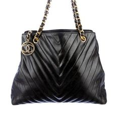 Chanel Chevron Large Black Leather Tote Bag - CC Charm handbag maxi jumbo boy #CHANEL #TotesShoppers