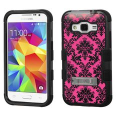 Amazon.com: Samsung Galaxy Core Prime case - [Pink Damask]( Black / Black)UNIQUITI(TM) cell phone armor cover [TuMax] dual layer hybrid hard skin guard ultra protective shell (for Samsung Galaxy Core Prime Prevail LTE G360 ): Cell Phones & Accessories
