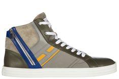 HOGAN REBEL MEN'S SHOES HIGH TOP LEATHER TRAINERS SNEAKERS REBEL R141. #hoganrebel #shoes #