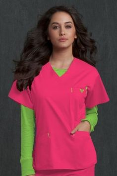 Med Couture by Peaches Uniforms Solid V-Neck Scrub Top: Amazon.com: Clothing