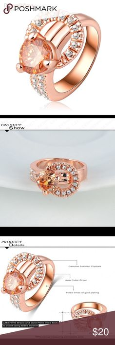 Latest Design 18K Rose Gold Plate Latest Design 18K Rose Gold Plate Austrian Crystal SWA Element Exaggerated Ring Women Ring Jewelry Rings