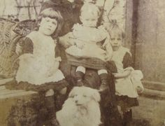 Mama, her Girls and her Dog in the Garden-Antique Cabinet Card Photo. $16.00, via Etsy.
