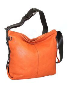 Look at this Nino Bossi Handbags Orange Heaven Leather Hobo on #zulily today!